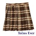【超特価】Teens Ever プリーツスカート(ブラウン/レッド)