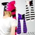 《セール》[BERUNIKA]ボーダーカラーのキャットモチーフ耳あて帽子 3color