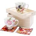 ■美濃焼ギフト■和藍 花さとペアマグカップ(箱膳)