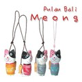 Pulau Bali Meong■バリ風■手作り木製猫(ねこ)ストラップ、4色