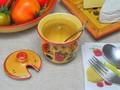 【ポルトガル製】陶器 手描き ストロベリー フルーツ柄 イエロー マスタードポット からしいれ シュガー も