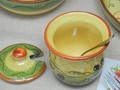 ポルトガル製 陶器 手描き オリーブ柄 食器 マスタードポット からしいれ グリーン
