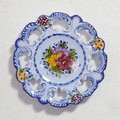ポルトガル製 アルコバッサ 飾り皿 花柄 プレート ブルー ハンドペイント 絵皿 26cm 壁掛け