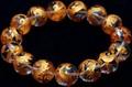 【天然石彫刻ビーズ】水晶 (金彫り) 五爪龍 (14mm) (ブレスレット/半連売り)【天然石 パワーストーン】