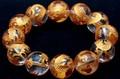 【天然石彫刻ビーズ】水晶 (金彫り) 五爪龍 (18mm) (ブレスレット/半連売り)【天然石 パワーストーン】