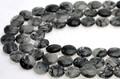 【天然石カットビーズ】ブラックルチルクォーツ コイン型 約10mm【天然石 パワーストーン】