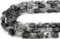【天然石カットビーズ】ブラックルチルクォーツ スクエア型 約8x8mm【天然石 パワーストーン】