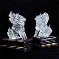 天然石 最高級 天然水晶手彫り麒麟一対彫刻置物箱付【FOREST 天然石 パワーストーン】