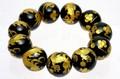 【天然石彫刻ビーズ】オニキス (金彫り) 五爪龍 (20mm) (ブレスレット/半連売り)【天然石 パワーストーン】