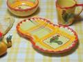 【ポルトガル製】手描き ニワトリ柄 カフェ 食器 皿 プレート モーニングプレート・イエロー チェック