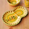 【ポルトガル製】カフェ食器 皿 プレート 手描き オリーブ柄 ボーダー モーニングプレート