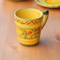 【ポルトガル製】カフェ食器 マグカップ 手描き オリーブ柄 ボーダー《シエラ》柄