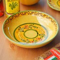 【ポルトガル製】カフェ食器 手描き パスタ皿 オリーブ柄 皿 イエロー(21cm)ボウル《シエラ》柄