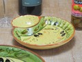 ポルトガル製 陶器 手描き オリーブ柄 食器 コンビボウル ソース ディップ 用の 仕切り 付き