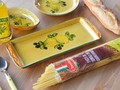 ポルトガル製 陶器 手描き レモン オリーブ柄 食器 長皿 34cm プレート イエロー