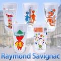 【5種】フランス発サヴィニャックグラス レトロイラストコップ 日本製 ポスター 広告