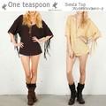 ざっくり開いたえりとフリンジ 【One teaspoon】 Siesta Top / Vintage トップス ワンティースプーン