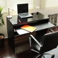 【予約販売7月上旬】日本製 デスク スライドテーブル付90cm幅ハイデスク ブラック