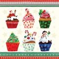 Paw Decor Collection ペーパーナプキン クリスマス<サンタ・スノーマン×カップケーキ>