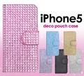 <スマホケース>ラインストーンを贅沢に使用! iPhone SE/5s/5用 デコポーチケース 6色