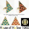 【House of Harlow 1960】14kt y/g Plated Leather Triangle Cocktail Ring