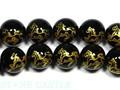 【天然石彫刻ビーズ】オニキス 10mm (金彫り) (線彫り) 馬 (一連売り)【天然石 パワーストーン】