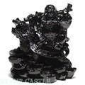【天然石彫刻置物】龍亀(ろんぐい)&布袋 オブシディアン(黒曜石)【天然石 パワーストーン】