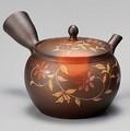 美味しいお茶を淹れるならこれ!!■常滑焼急須【陶製茶こし急須】玉光茶窯変釜型朱花急須