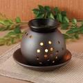 お部屋の消臭に!■【茶香炉】盛正明世黒丸型香炉