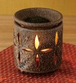 お部屋の消臭に!■常滑焼【茶香炉】萬水焼しめ花彫茶香炉