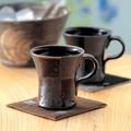 ■常滑焼【マグカップ】佳窯アメ釉市松焼酎カップ