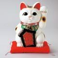 左手を上げる猫はお客を招く!■常滑焼【縁起置物/貯金箱】富本大入白猫(座布団付き)