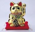 左手を上げる猫はお客を招く!■常滑焼【縁起置物/貯金箱】富本黄金小判付猫