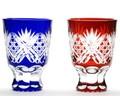≪伝統の江戸切子≫八角篭目文様 懐石杯 ペア