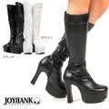 《大きいサイズ》12cmヒールのシンプルロングブーツ【ST01/ゴスロリ/靴】