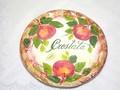 【イタリア製】 アップル柄本格ピザプレート ハンドメイド・ハンドペイント 大皿(29cm)  ディナープレート