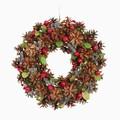 <<クリスマスリース>>★■X'mas/  Pinecone & Red Berry Wreath M