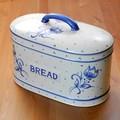 ポルトガル製 パンケース 陶器製 花柄 食品 保存容器 キッチンストッカー ブルー