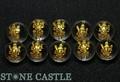 【天然石彫刻ビーズ】水晶 12mm (金彫り) 八大観音「普賢菩薩」 (縦穴) [10個セット] (数量限定商品)