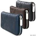 【ラウンドファスナー長財布】草文様型押しPU財布 シンプル レザー調