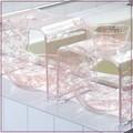 クリア+バラ模様 『クリアローズ』ピンク(バスチェア・ウォッシュボウル・手桶)