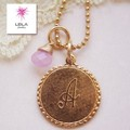 【Leila】 Initial necklace wish stone イニシャルネックレス /ピンク