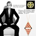 【House of Harlow 1960】14kt y/g Plated Leather Tribal Triangle Pendant Necklace coral