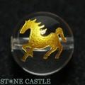 【天然石彫刻ビーズ】水晶 12mm (金彫り) 馬【天然石 パワーストーン】