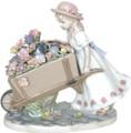 陶磁器 置物 花車の少女