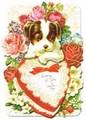 PUNCH STUDIO バレンタインスモールグリーティングカード(3Dレイヤー) <犬×ハート>