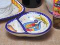 【ポルトガル製】仕切り皿【バルセロスのニワトリ】手描き コンビ トレイ ソース/ディップ用の仕切り付き