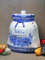 ポルトガル製 陶器 手描き ブルーフラワー 花柄 白地 青 野菜ストッカー ベジタブルポット 野菜保存容器