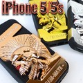【在庫一掃SALE】iPhone5 携帯 カバーau SoftBank シンプル スマホケース インディアン ドクロ ◇IP-79-81