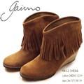 ☆即納☆ GAIMO【ガイモ】SHE66 0442 ブーツ ショート スウェード フリンジ ウェッジソール